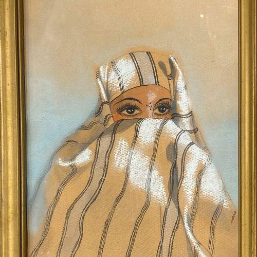 BENT SALAH Saïda, 20th century  Oriental with veil  pen, black ink, watercolour …