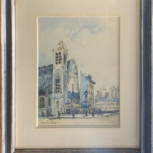 FRANK WILL, 1900 1951  Church in Paris  watercolor and charcoal, signed lower le…