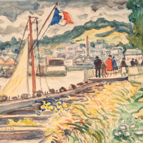DE SAINT DELIS Henri Liénard, 1878 1949  Waterfront walkers (Honfleur?)  waterco…