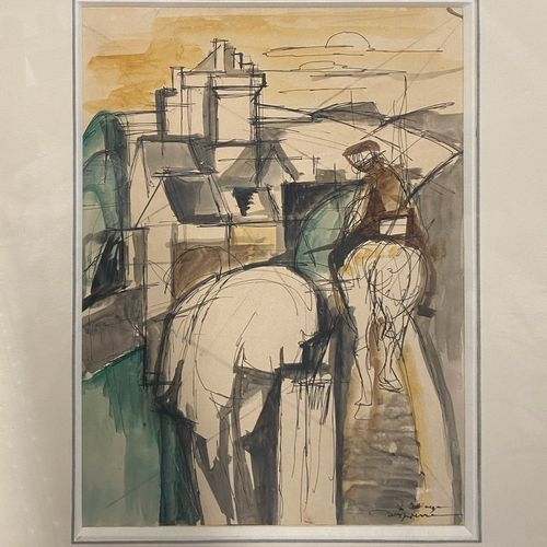DESPIERRE Jacques, 1912 1995  Man on horseback near a castle  ink and watercolou…