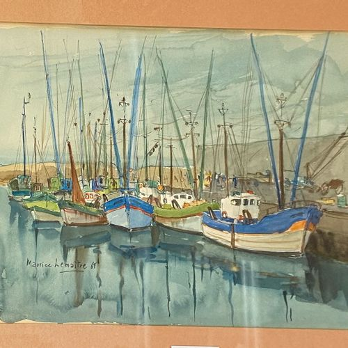 LEMAÎTRE Maurice, born in 1929  Fishing Vessels at Wharf, 1968  watercolour on p…