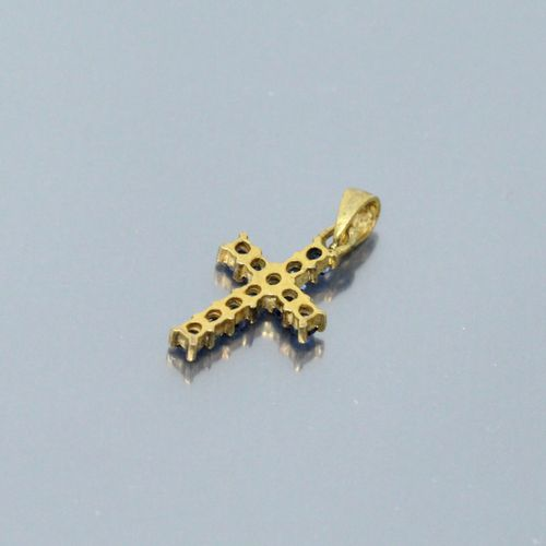 Baby cross, 18k (750) yellow gold setting with synthetic blue stones.  Ht.: 1.40…
