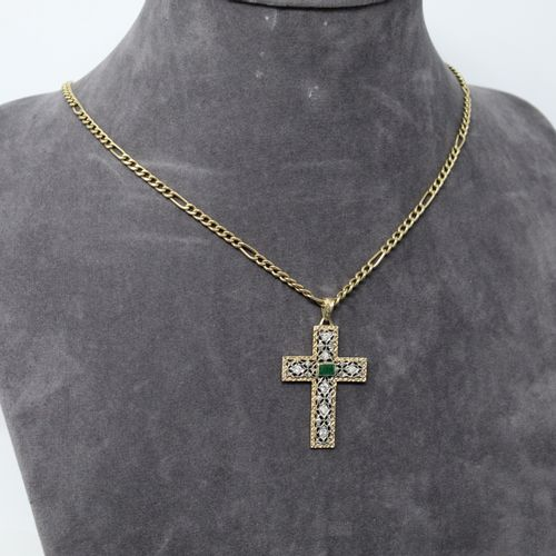 18k (750) yellow and white gold openwork cross pendant with a rectangular emeral…