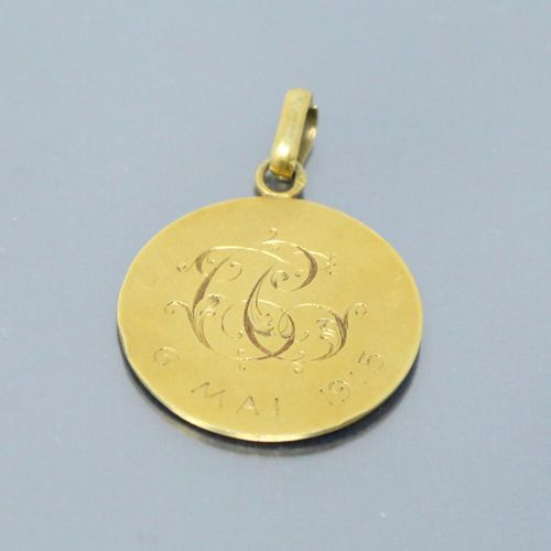 Medal in 18k (750) yellow gold on the obverse of Saint George Slaying the Dragon…
