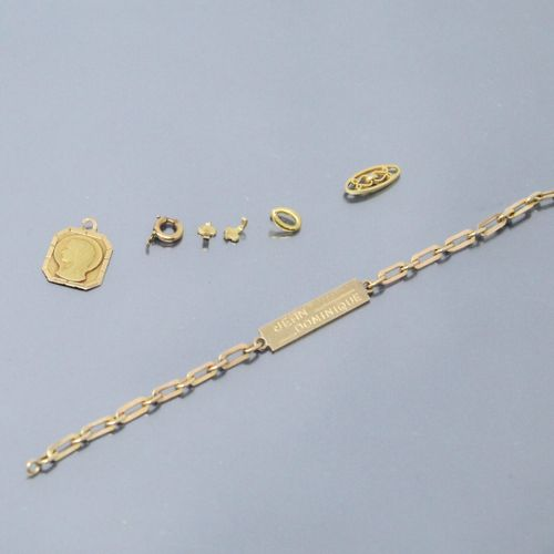 Debris of 18k (750) yellow gold, including an engraved Jean Dominique bracelet, …