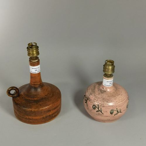 BLIN Jacques (1920 1996)  Set of two lamp bases.  White earth, handwritten signa…
