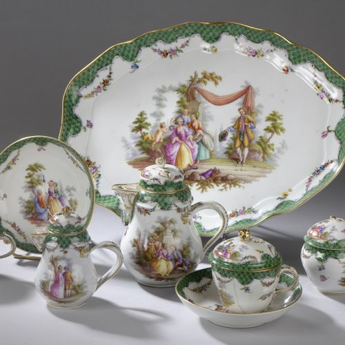 Saxony, Late 19th century.  Head to head porcelain set including a tray, a cover…