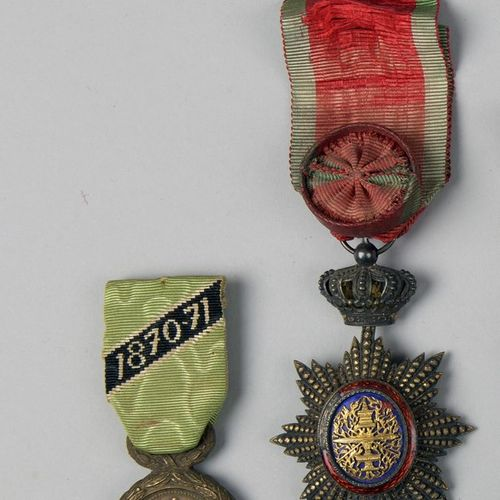 Lot including :   Officer's Star of the Royal Order of Cambodia.  Vermeil  Gross…