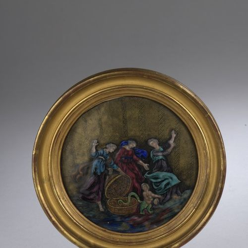 Circular polychrome enamel plate with gold highlights representing the son of Vu…