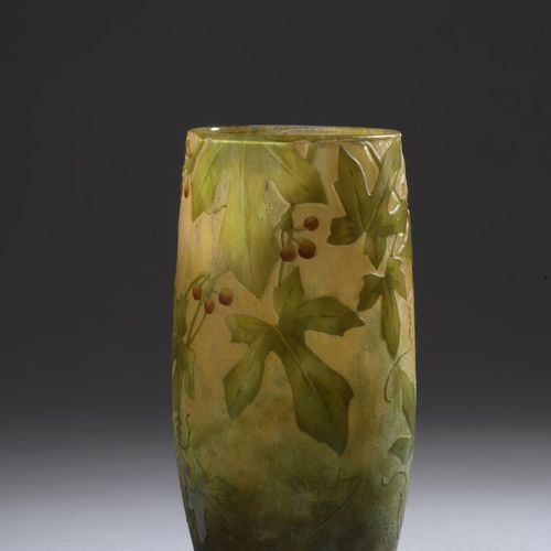 DAUM  Oblong vase with open neck. Proof in orange yellow and violet marmorated g…