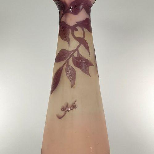 ETABLISSEMENTS GALLE (1904 1936)  Conical vase with open neck. Proof in purple l…