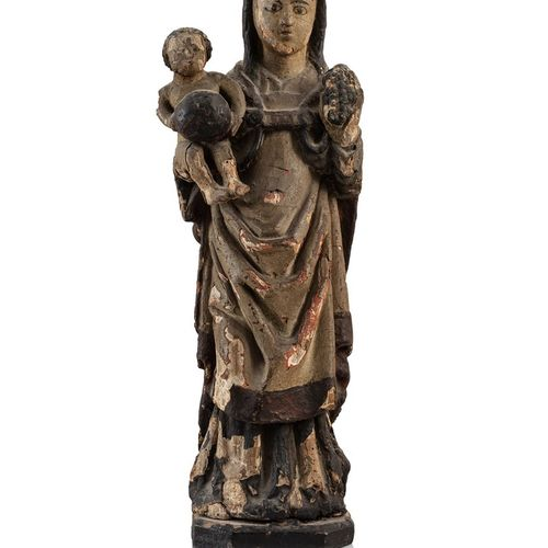 Virgin and Child with grapes in carved and polychromed wood, rough back. Standin…