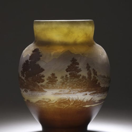 ETABLISSEMENTS GALLE (1904 1936)  Blue line of the Vosges  Ovoid vase with a sho…
