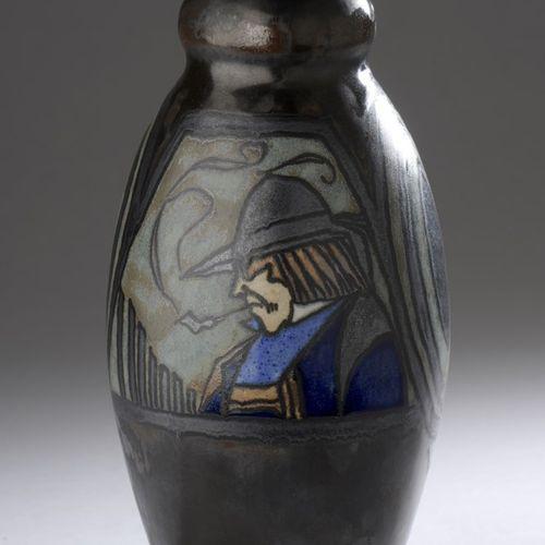 Paul FOUILLEN (1899 1958) QUIMPER  Ceramic vase with ovoid body and bulging neck…