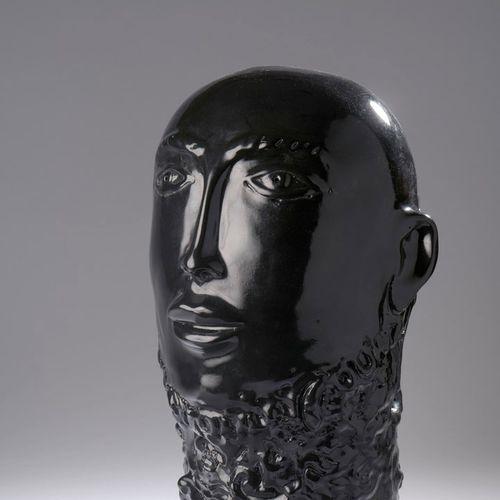 Robert & Jean CLOUTIER (nés en 1930)  Homme barbu.  Sculpture en grès émaillée n…