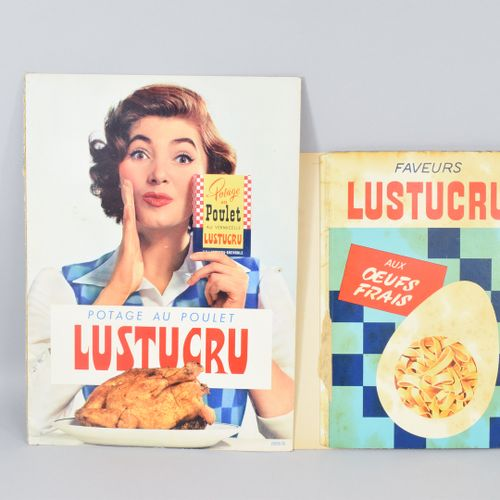 "LUSTUCRU lot composed of a mirror "" fixed under glass "" FRESH EGGS PATES "". S.I.…"