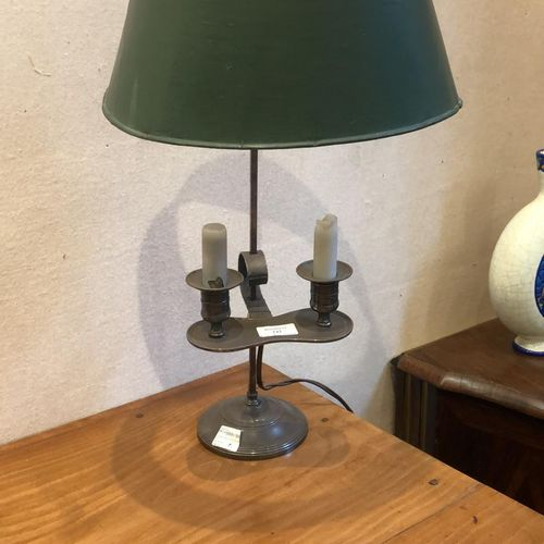 Lamp bouillotte adjustable lampshade in green sheet metal.