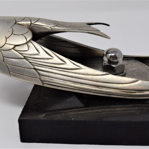 Automobile mascot in silver plated bronze representing a swallow in flight  Sign…