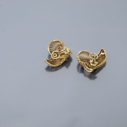 Pair of 18K (750) yellow gold openwork and twisted ear clips set with synthetic …