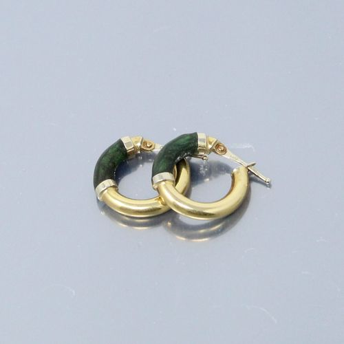 Pair of 18k (750) yellow and white gold earrings.  Gross weight : 2.20 g
