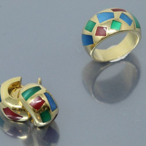 Half set comprising a dome ring in 18K (750) yellow gold and a pair of earrings …