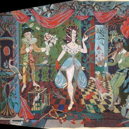 HÉTREAU Rémy (1913 2001)  Carton de tapisserie  carton entoilé  manques, acciden…