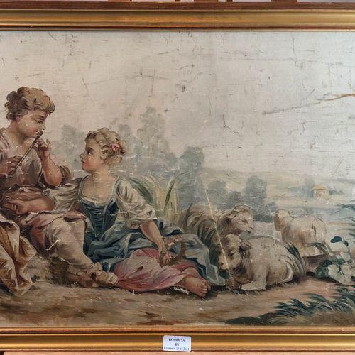 Projet de tapisserie représentant une scène galante,  Huile sur toile,  H.: 42 c…