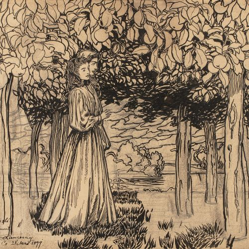 LANCERAY Evgueni Eugenievitch, 1875 1946  Couple en forêt, le Bois d'Amour  plum…