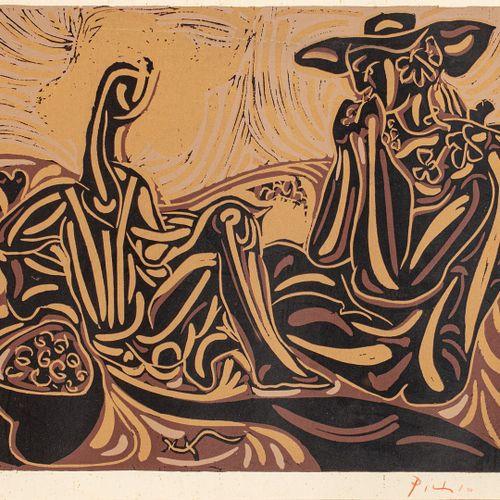 PICASSO Pablo, d'après Les vendangeurs linogravure en couleurs (légère insolatio…