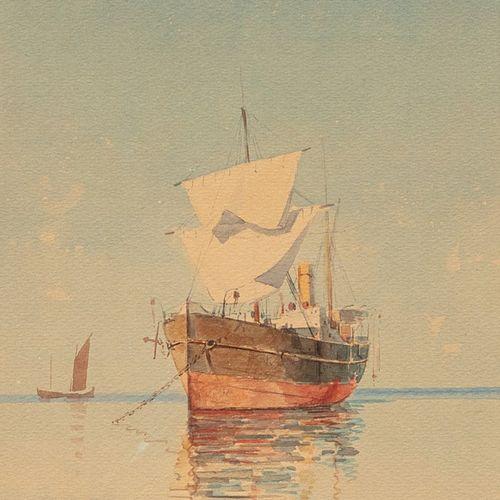PROSALENTIS Emilios, 1859 1926  Bateau au mouillage  aquarelle (insolation), sig…
