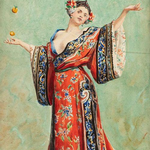LELOIR Maurice, 1853 1940  Jongleuse de fruits en kimono  gouache sur papier (tr…