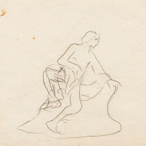 HALEPAS Yannoulis, 1851 1938  Étude de figure au drapé  crayon noir sur papier (…