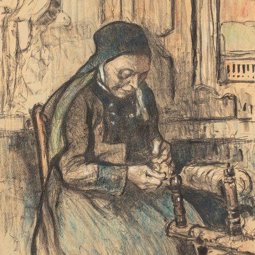 ADLER Jules, 1865 1952  La fileuse  fusain et pastel sur papier (légère insolati…