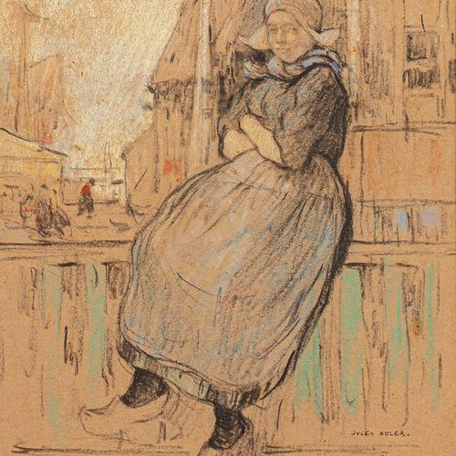 ADLER Jules, 1865 1952  Hollandaise à la rambarde, Volendam, 1906  pastel sur pa…