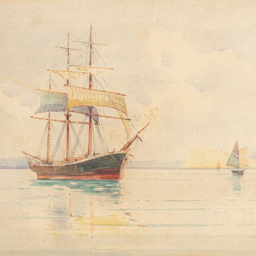 PROSALENTIS Emilios, 1859 1926  Trois mâts au mouillage  aquarelle (insolation e…