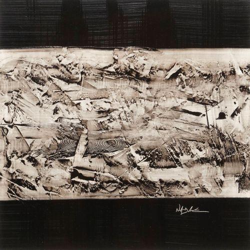 NADAL André, né en 1952  Relief noir et blanc  technique mixte sur papier, signé…