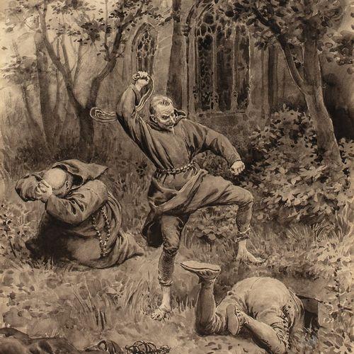 LELOIR Maurice, 1853 1940  Chicot fouettant Mayenne devant le moine Gorenflot  i…