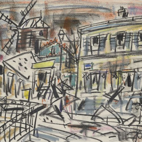 GEN PAUL, 1895 1975  Moulin à Montmartre  dessin au Crayolor, signé en bas à dro…