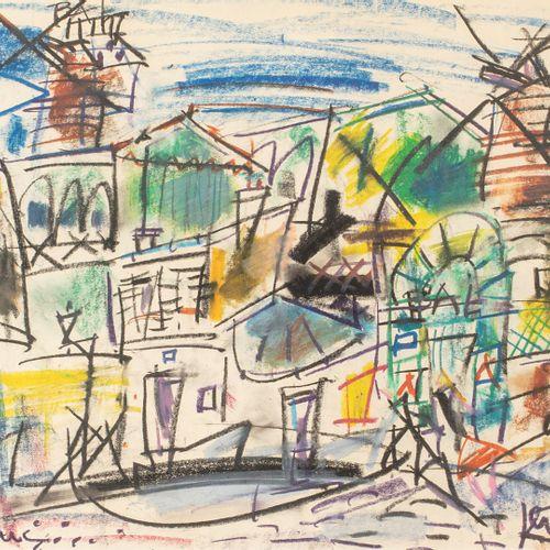GEN PAUL, 1895 1975  Rue Lepic  dessin au Crayolor sur papier, situé en bas à dr…