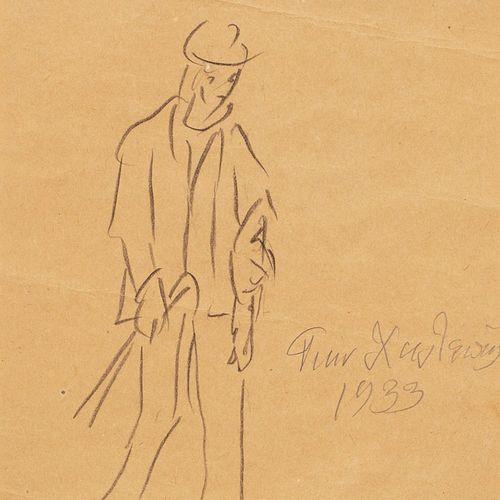 HALEPAS Yannoulis, 1851 1938  Étude d'homme marchant, 1933 Étude d'homme  crayon…