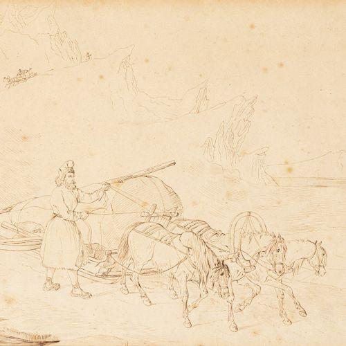 ÉCOLE RUSSE XIXe siècle  La troïka  plume et encre brune sur papier (insolation,…