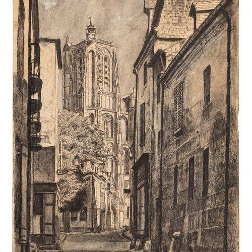 BASCOULARD Marcel, 1913 1978  Ruelle vers la cathédrale de Bourges, 19 juillet 1…