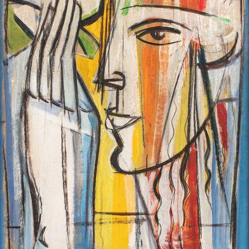BROGLY Colette, XXe siècle  Visage et main, 1984  peinture sur papier doublé sur…