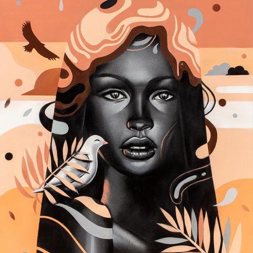 MSIEU BONHEUR, né en 1977  Black Lady  aérosol et huile sur toile, signée en bas…