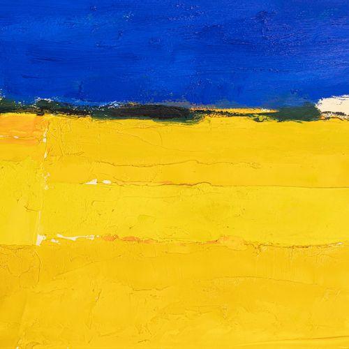 CATHELIN Bernard, 1919 2004  Paysage d'Ombrie au champs de colza, 1996  huile su…
