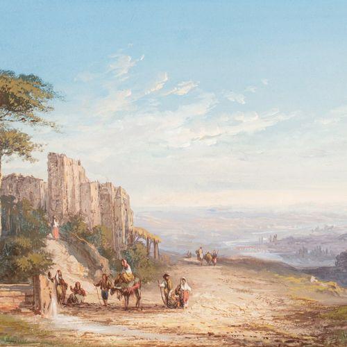 PASCAL Paul, 1832 1905  Paysage à la fontaine, Italie, 1874  gouache, signée et …