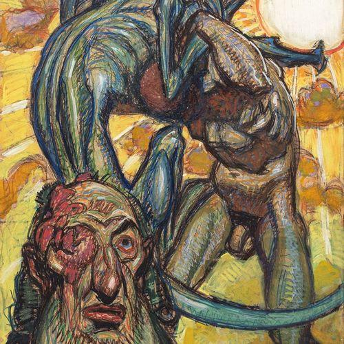 CORNELIUS Jean Georges, 1880 1963  La lutte  technique mixte et huile sur carton…