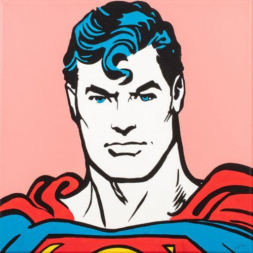 ZOULLIART, né en 1996  Superman  peinture sur toile, signée en bas à droite, sig…