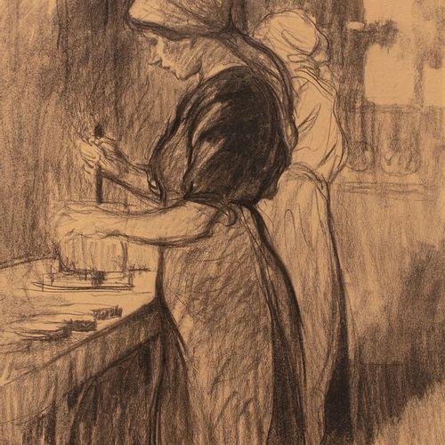 ADLER Jules, 1865 1952  Ouvrières, 1918  fusain et estompe sur papier (insolatio…