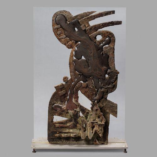 BENOIST Guy, né en 1931  Sans titre, 1970  technique mixte avec collage de métau…